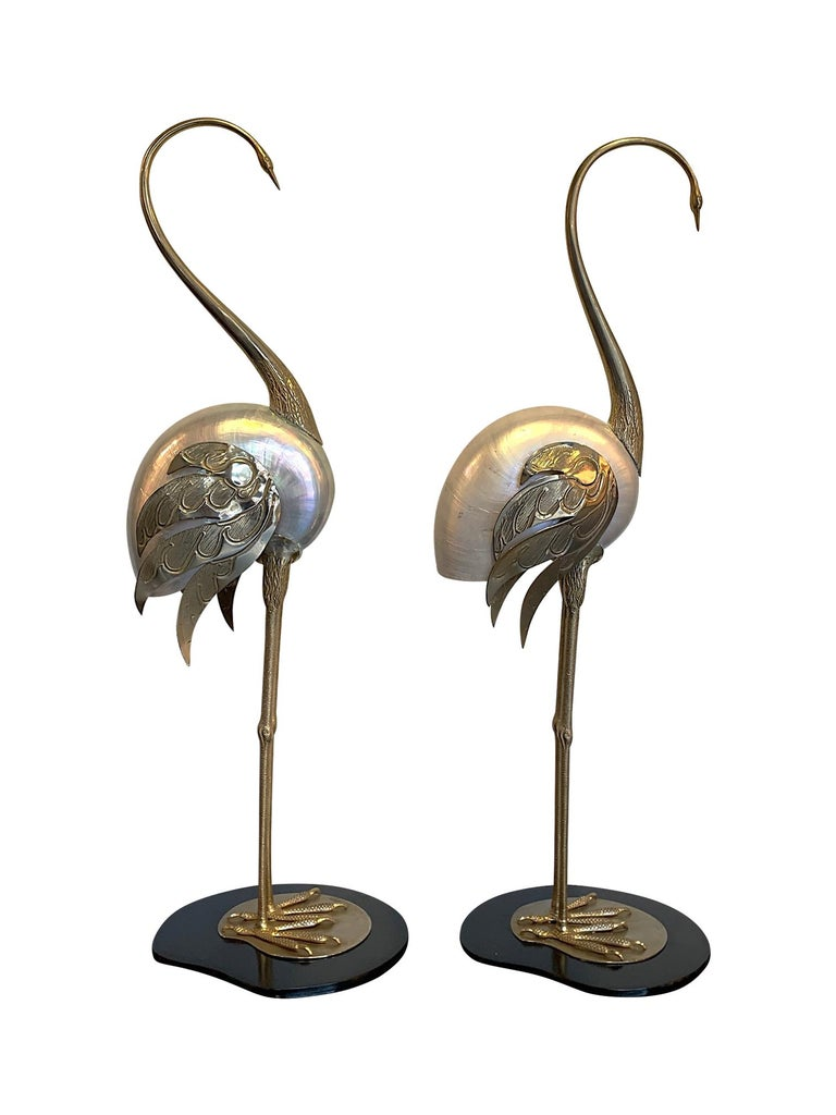 Late 20th Century Lovely Pair of 1970s Brass and Real Nautilus Shell Flamingos by Antonio Pavia For Sale