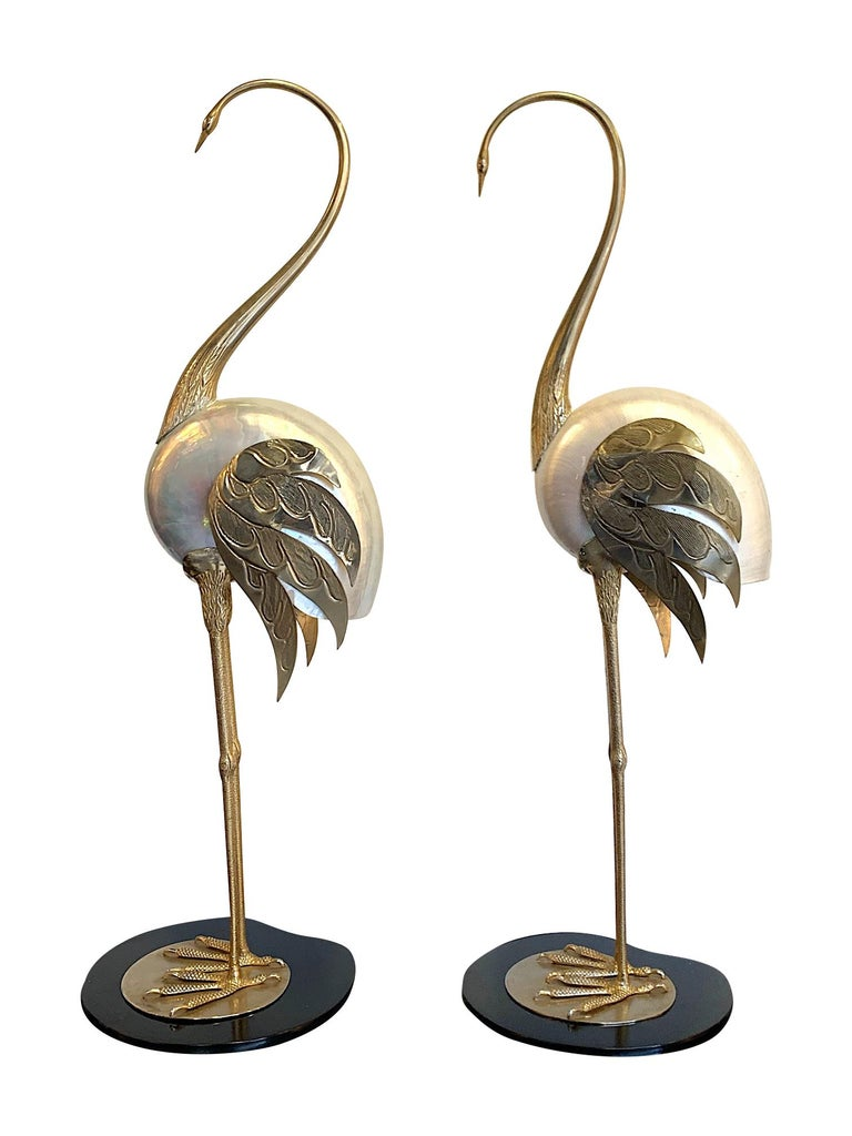 Lovely Pair of 1970s Brass and Real Nautilus Shell Flamingos by Antonio Pavia For Sale 1