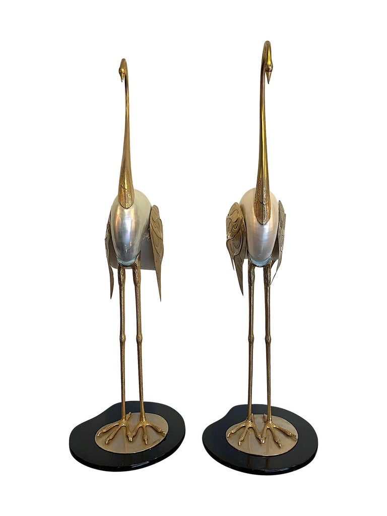 Lovely Pair of 1970s Brass and Real Nautilus Shell Flamingos by Antonio Pavia For Sale 3