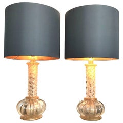Lovely Pair of Barovier and Toso Gold Leaf Murano Glass Lamps