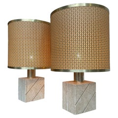 Lovely Pair of Italian 1970s Travertine and Brass Lamps by Frateli Manneli
