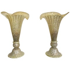 Lovely Pair of Murano Glass Fluted Lamps with Mottled Ribbed Finish