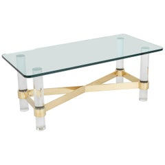 Lucite and Brass Glass Top Coffee Table in the Manner of Karl Springer