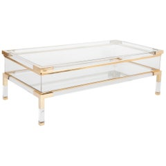 Lucite, Brass and Glass Vitrine Coffee Table by Romeo Rega