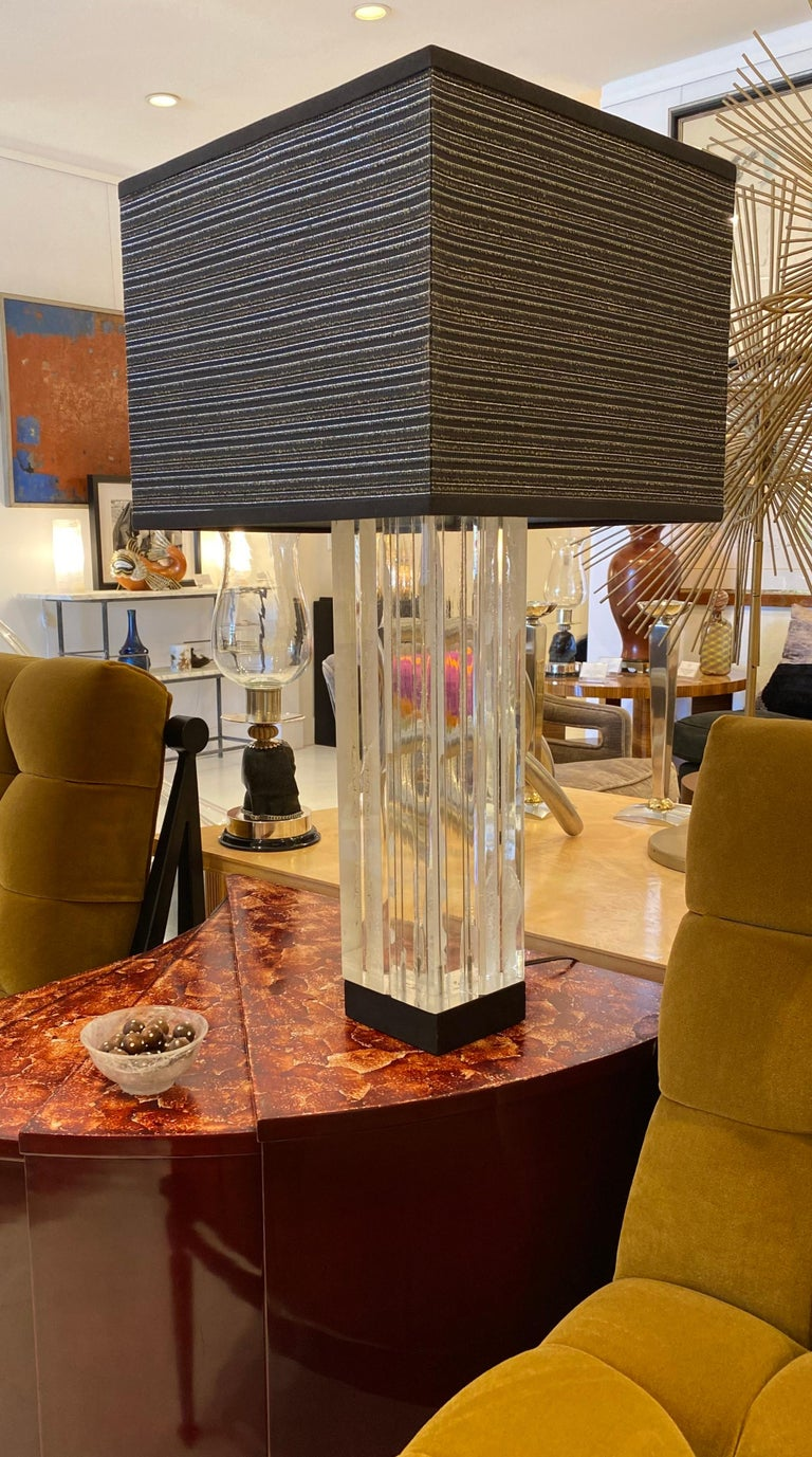Brass Lucite Table Lamp by Billy Haines For Sale
