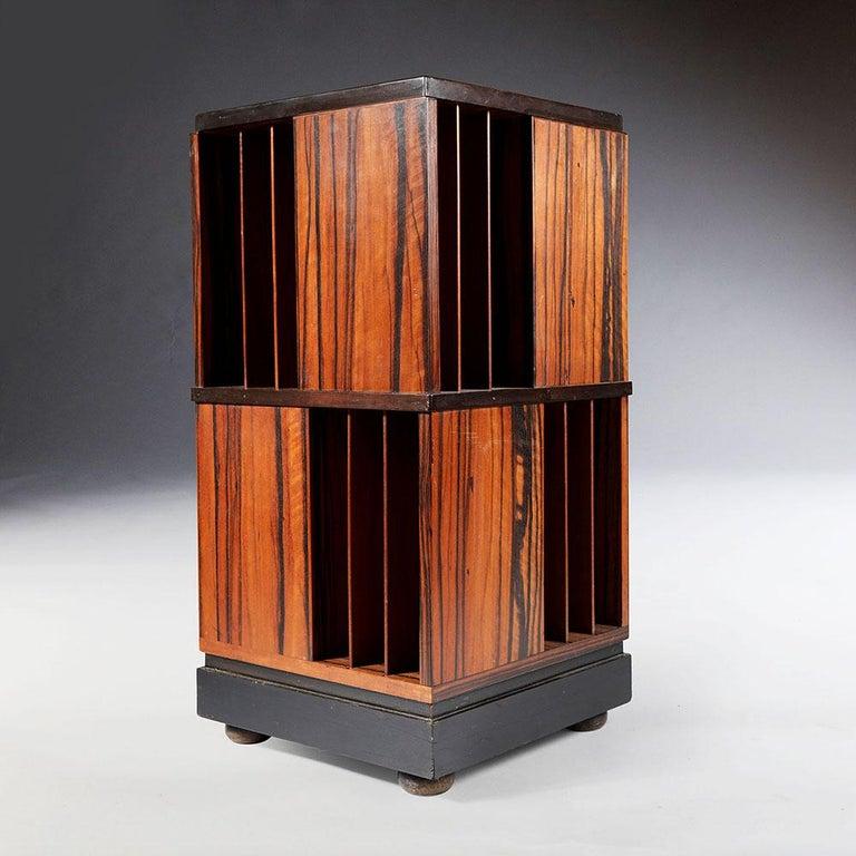 French Macassar Ebony Revolving Bookcase For Sale