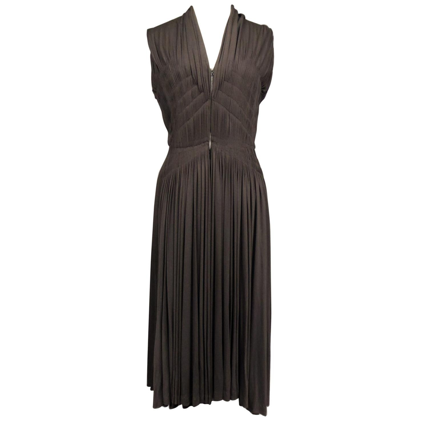 A Madame Grès Cocktail Dress In Pleated Silk Jersey Numbered 63926 Circa 1950