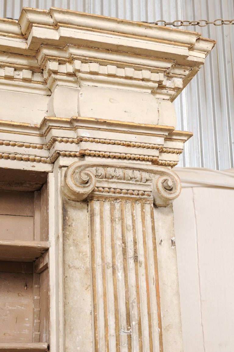 18th Century Magnificent Italian Cabinet with Roman Ionic Columns and Original Paint For Sale