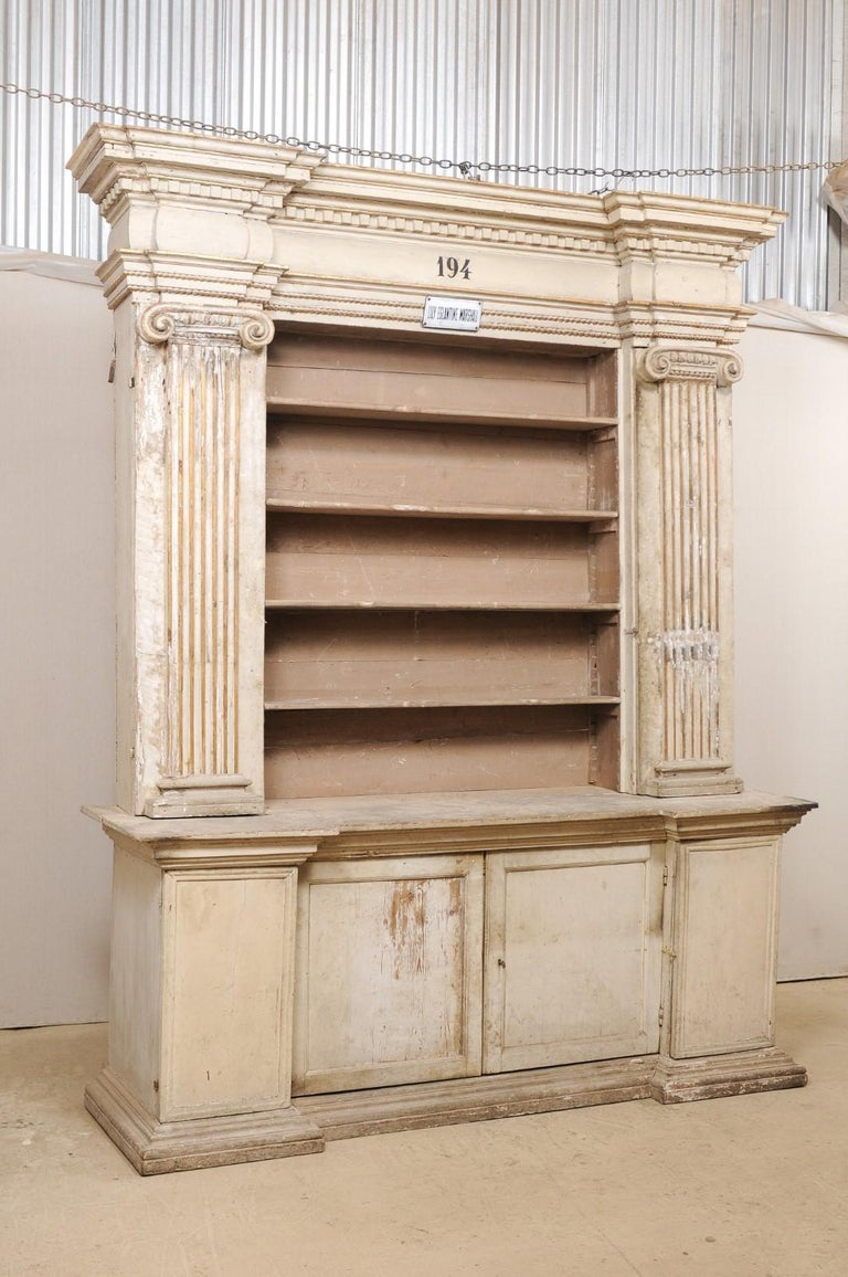 Magnificent Italian Cabinet with Roman Ionic Columns and Original Paint For Sale 2
