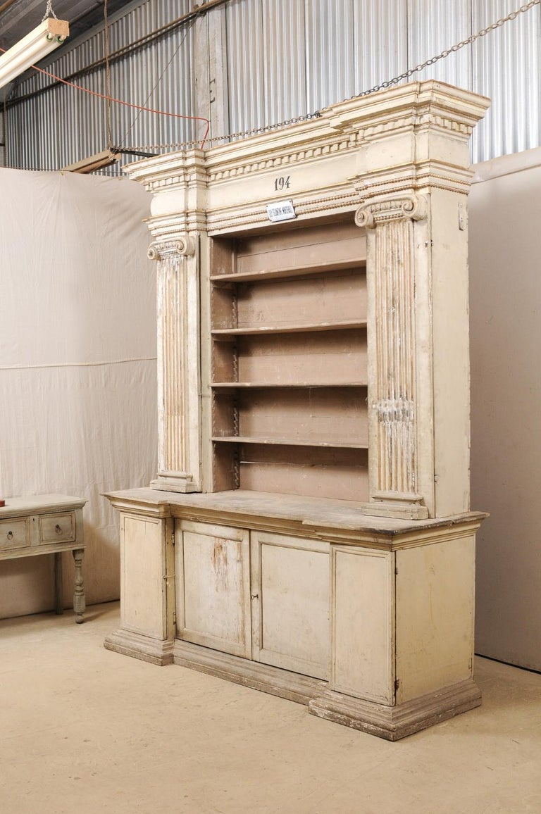 Magnificent Italian Cabinet with Roman Ionic Columns and Original Paint For Sale 3
