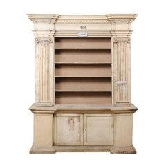 A Magnificent 18th C. Italian Cabinet w/ Roman Ionic Columns & Original Paint