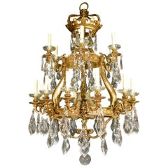 Magnificent Gilt Bronze and Crystal Chandelier