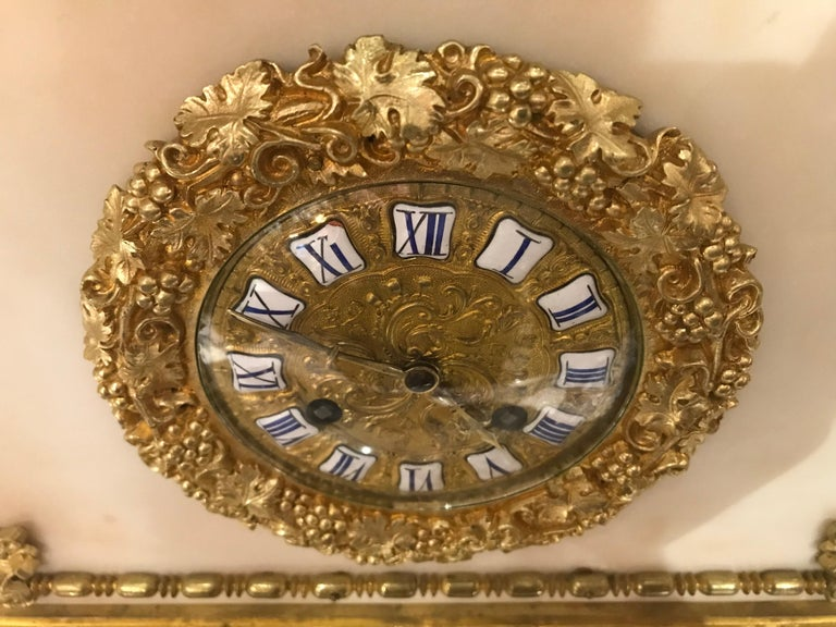 Magnificent Gilt Bronze and Marble Clock In Good Condition For Sale In Atlanta, GA