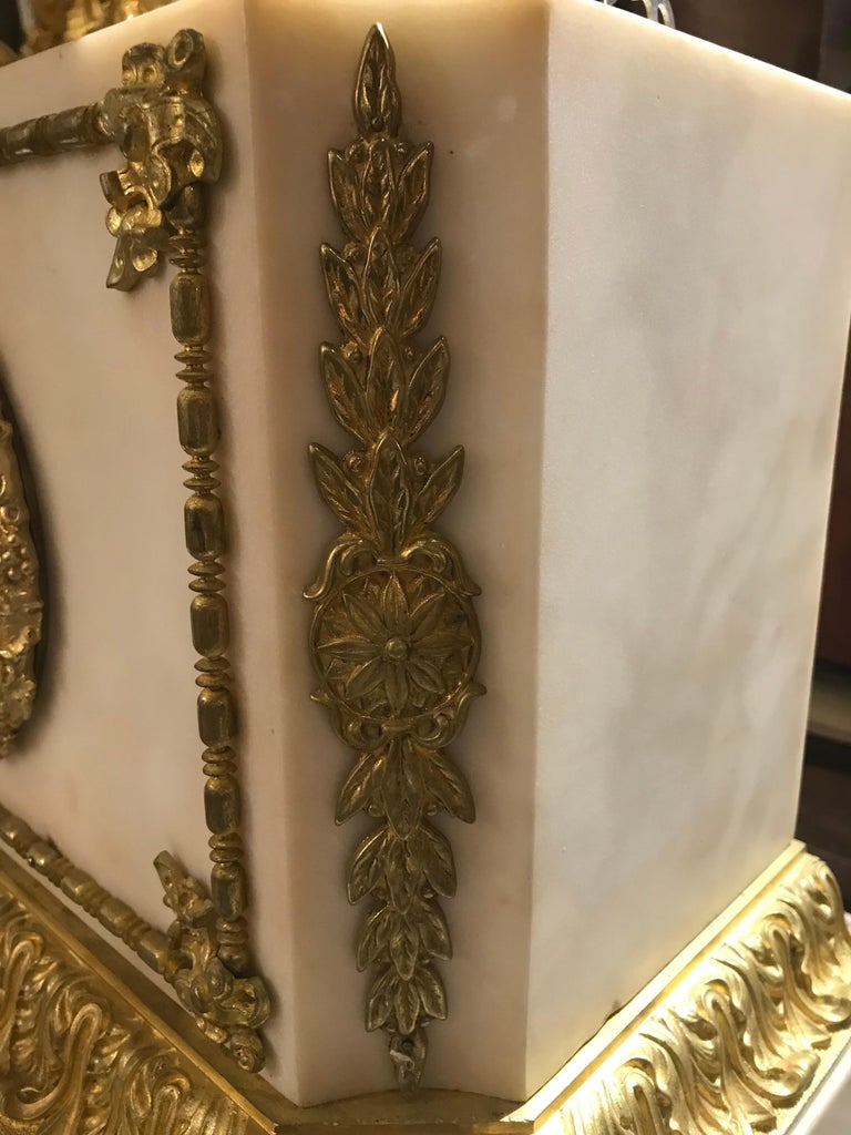 Late 19th Century Magnificent Gilt Bronze and Marble Clock For Sale