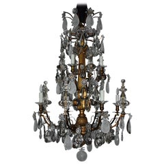 Magnificent Giltwood, Bronze, Crystal and Rock Crystal Chandelier