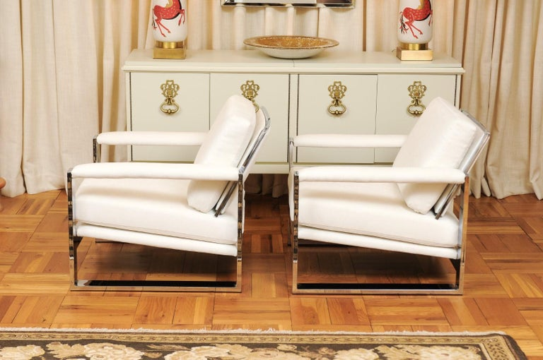 Magnificent Pair of Mirror Chrome Cube Loungers by Milo Baughman, circa 1975 For Sale 5