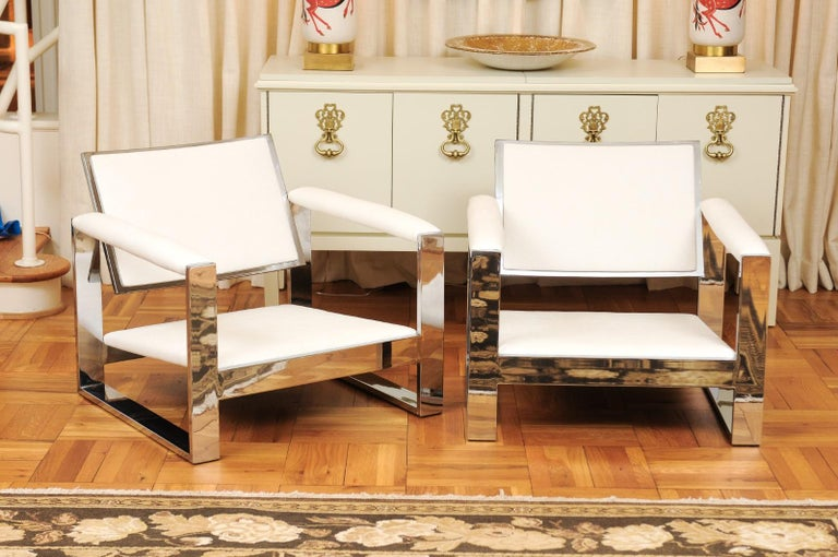 Magnificent Pair of Mirror Chrome Cube Loungers by Milo Baughman, circa 1975 For Sale 8