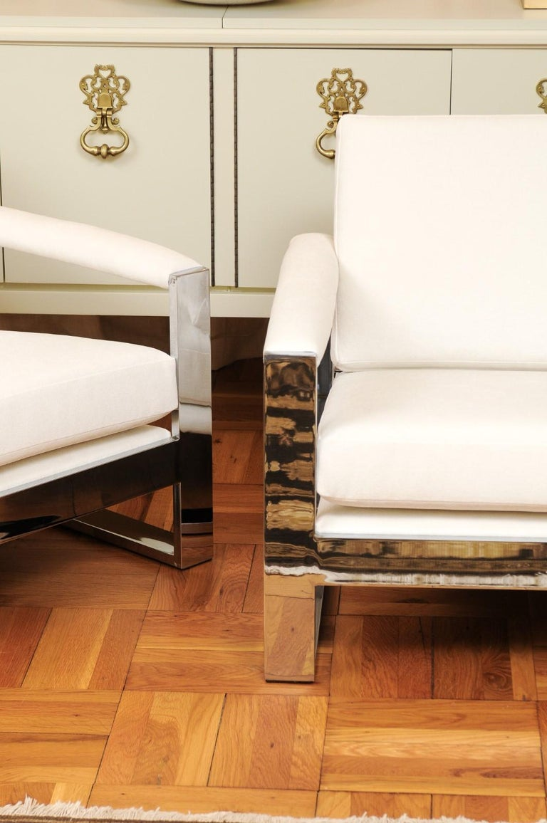 American Magnificent Pair of Mirror Chrome Cube Loungers by Milo Baughman, circa 1975 For Sale