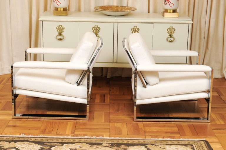 Magnificent Pair of Mirror Chrome Cube Loungers by Milo Baughman, circa 1975 For Sale 2