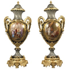 Magnificent Pair of Sèvres Style Porcelain Vases and Covers, circa 1880