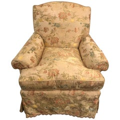 Magnificently Upholstered Overstuffed Armchair on Casters by O Henry House