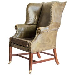 Mahogany and Green Leather Wing Armchair