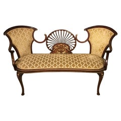Mahogany and Marquetry Inlaid Edwardian Period Settee