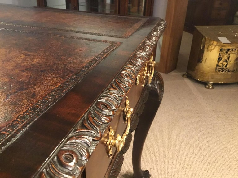 Mahogany Chippendale Revival Writing Table by Maple & Co of London circa 1900 For Sale 10