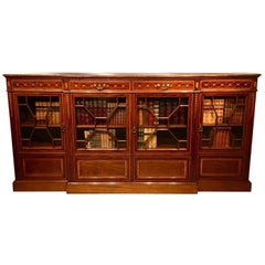 Mahogany Inlaid Edwardian Period Breakfront Bookcase by Shoolbrood