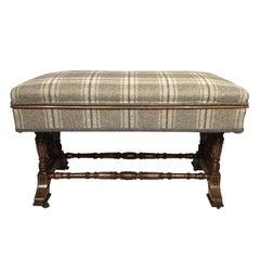 Mahogany Inlaid Victorian Period Duet Stool