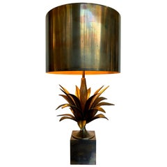 "Maison Charles ""Agave a Gorge"" Bronze Lamps with Original Bronze Shade, Signed"