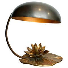 """Maison Charles """"Nenuphar"""" Bronze Lamp with Orignal Domed Metal Shade"""