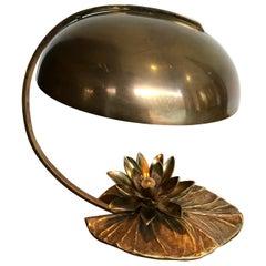 "Maison Charles ""Nenuphar"" Bronze Lamp with Original Domed Metal Shade"
