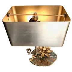 "Maison Charles ""Nenuphar Double Ecran"" Bronze Lamp with Original Metal Shade"