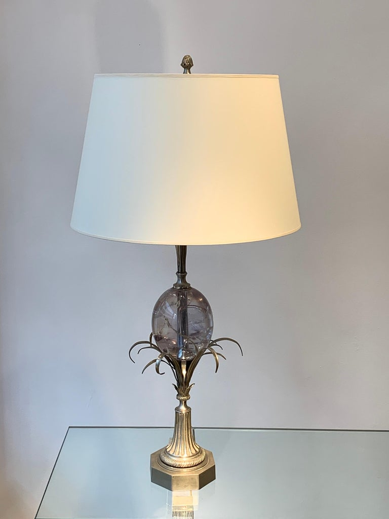 Maison Charles Silvered Bronze Lamp with Fractal Resin, circa 1960s-1970s For Sale 6