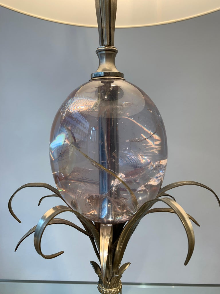 French Maison Charles Silvered Bronze Lamp with Fractal Resin, circa 1960s-1970s For Sale