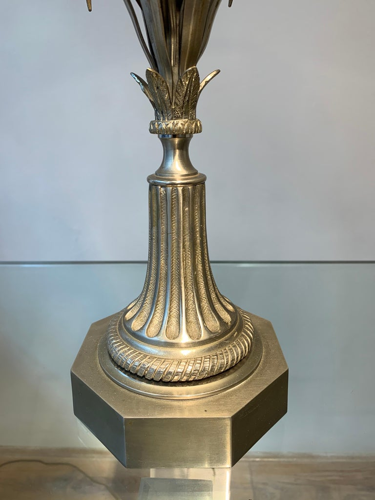 Maison Charles Silvered Bronze Lamp with Fractal Resin, circa 1960s-1970s In Good Condition For Sale In Brussels, BE