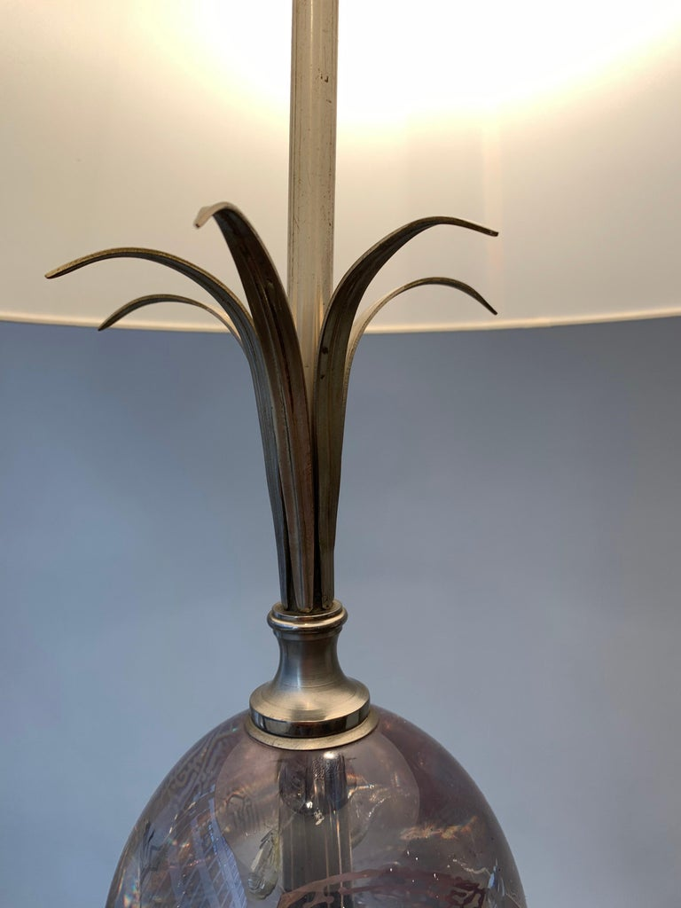 20th Century Maison Charles Silvered Bronze Lamp with Fractal Resin, circa 1960s-1970s For Sale
