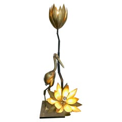 Solid Brass Crane Floor Lamp with Lotus Flower Lights