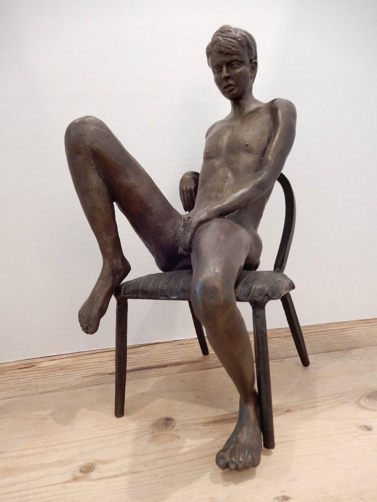 A well executed sculptural bronze male nude by artist Gerard Franc.