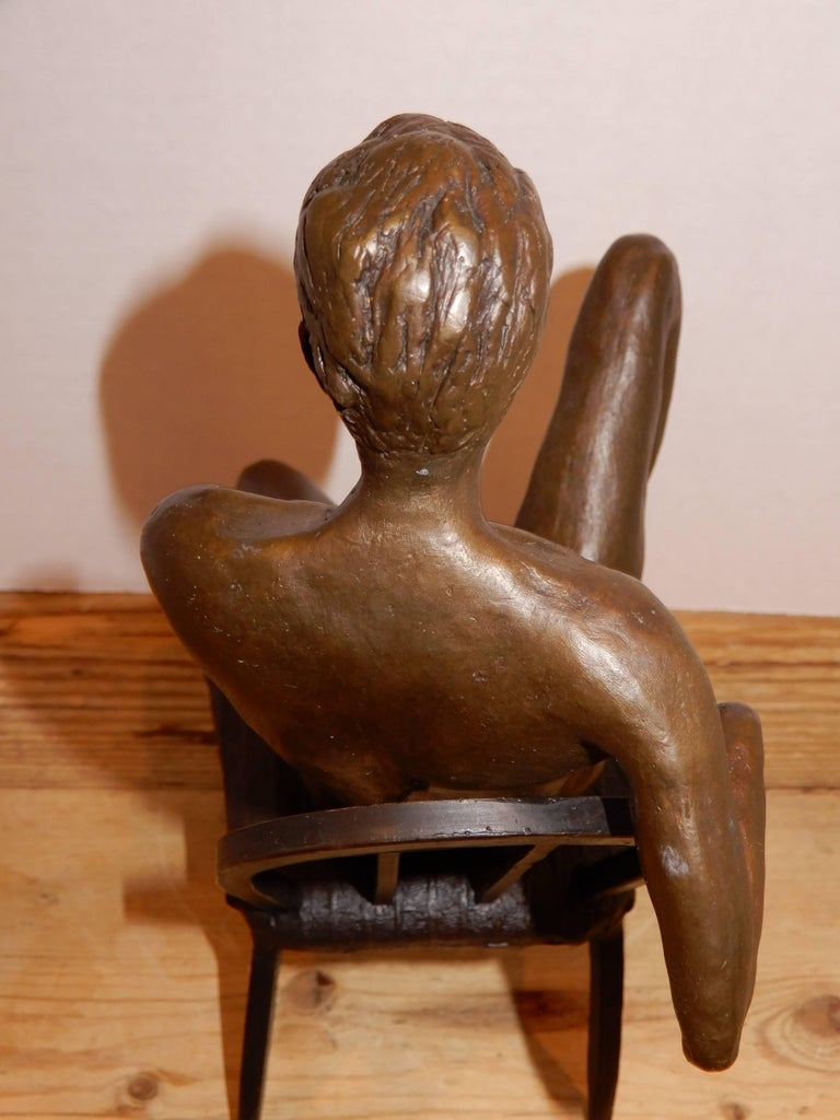 American Craftsman Male Bronze Nude by Artist Gerard Franc circa 1999 For Sale