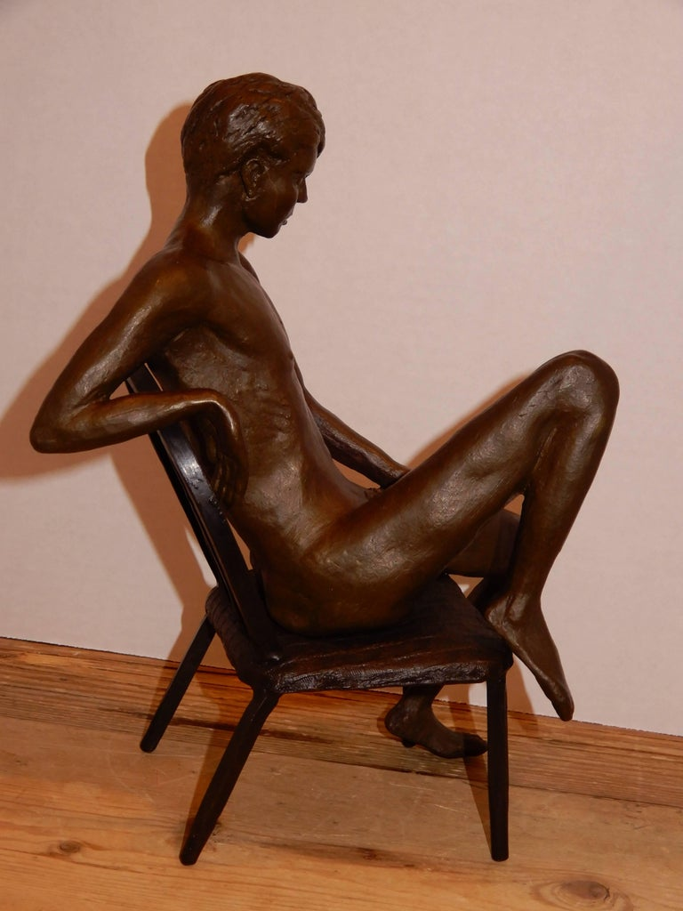 Hand-Crafted Male Bronze Nude by Artist Gerard Franc circa 1999 For Sale