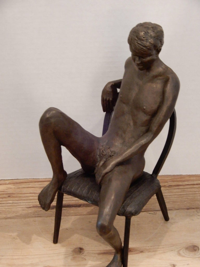 Male Bronze Nude by Artist Gerard Franc circa 1999 In Excellent Condition For Sale In Bellport, NY