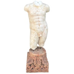 Male Torso Hand-Carved in Marble