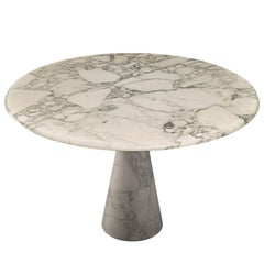 A. Mangiarotti Round Pedestal Dining Table in White Marble