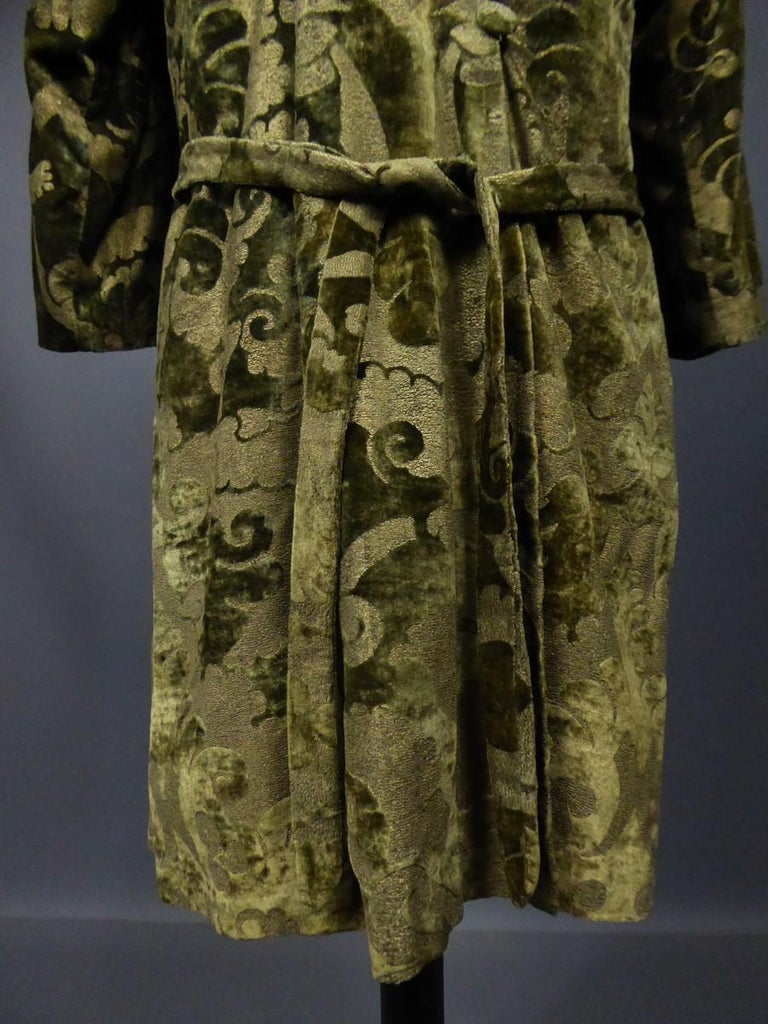 A Mariano Fortuny Gold Printed Velvet Evening Coat Italy Circa 1915/1925 For Sale 8