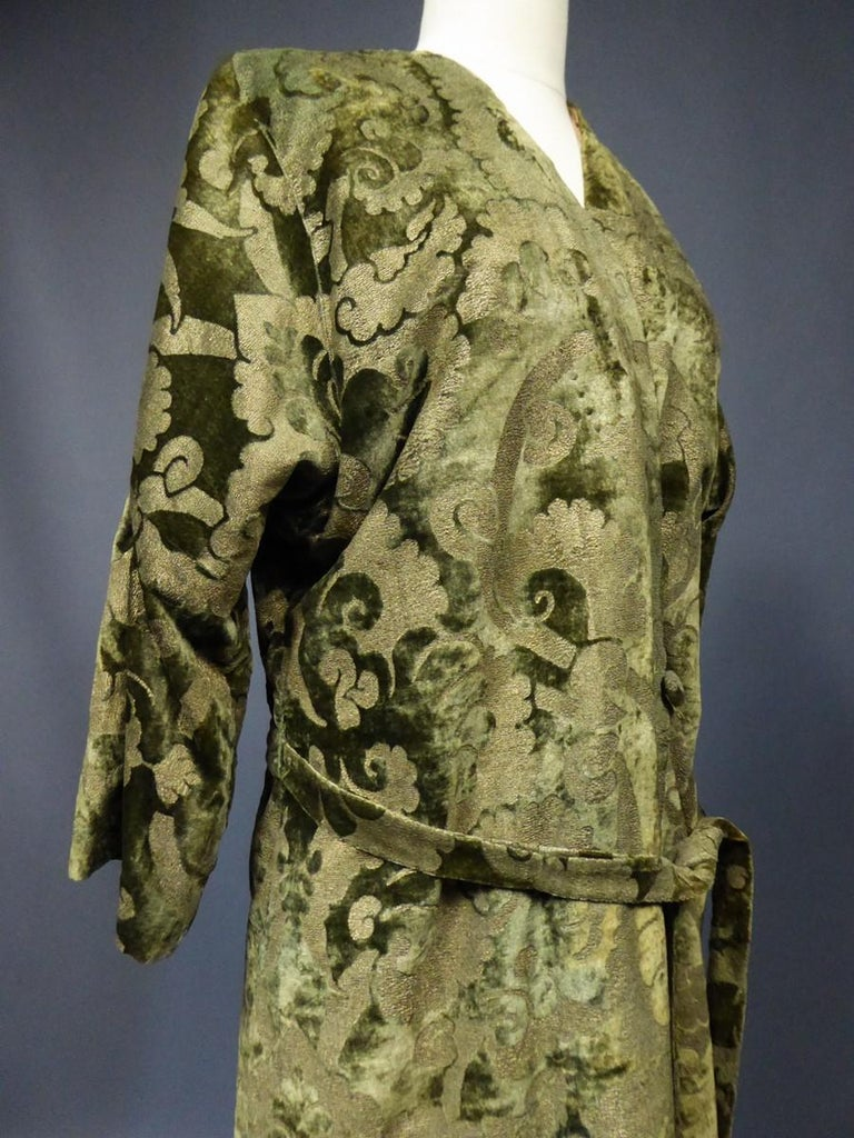 Women's A Mariano Fortuny Gold Printed Velvet Evening Coat Italy Circa 1915/1925 For Sale
