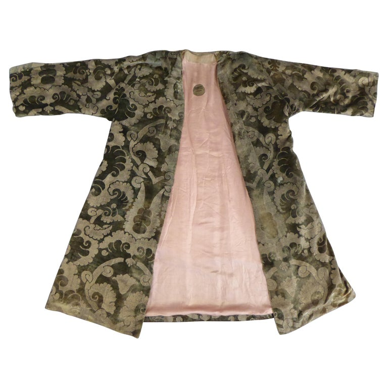 A Mariano Fortuny Gold Printed Velvet Evening Coat Italy Circa 1915/1925 For Sale