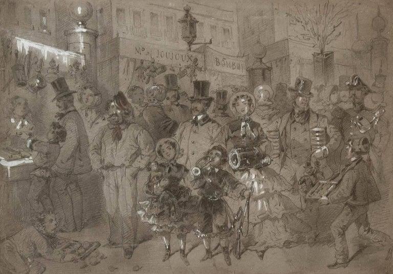 Paper Market Scene in Paris by Egron Sillif Lundgren For Sale