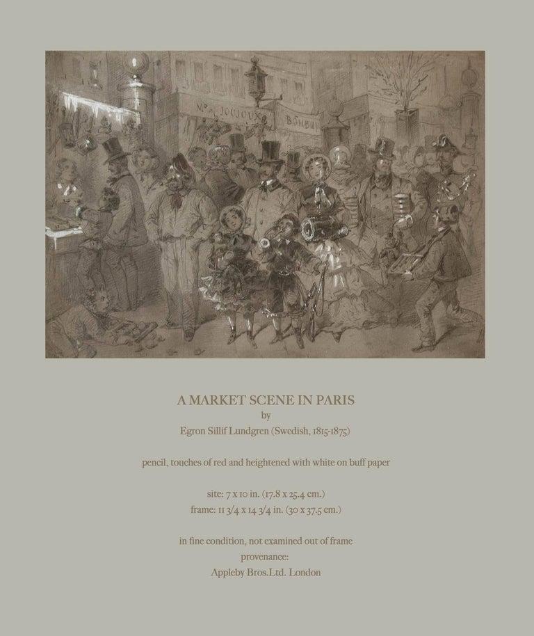 Market Scene in Paris by Egron Sillif Lundgren For Sale 1